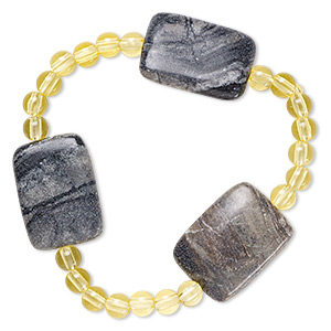 bracelet, stretch, picasso marble (natural) and acrylic, yellow, 5mm round and 30x20mm-30x21mm flat rectangle, 6-1/2 inches. sold individually.