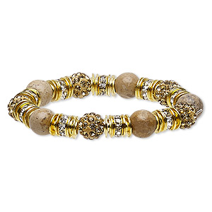 bracelet, stretch, picture jasper (natural) / glass rhinestone / nylon / polymer clay / gold-finished pewter (zinc-based alloy), gold / champagne / clear, 10mm round, 6-1/2 inches. sold individually.