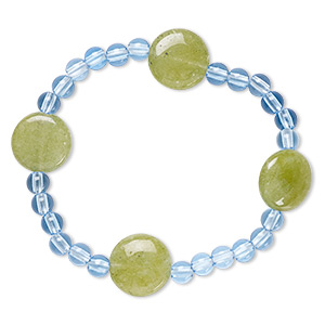 bracelet, stretch, quartz (dyed) and acrylic, blue and green, 5mm round and 15-16mm puffed flat round, 7 inches. sold individually.