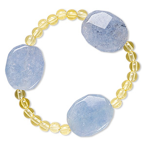 bracelet, stretch, quartz (dyed) and acrylic, yellow and blue, 5mm round and 24x20mm-25x21mm faceted puffed oval, 6-1/2 inches. sold individually.