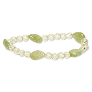 bracelet, stretch, quartz (dyed) and acrylic, yellow-green and light green, 5-6mm round and 13x10mm-14x11mm flat teardrop, 6-1/2 inches. sold individually.