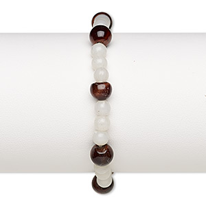 bracelet, stretch, red tigereye (natural) and acrylic, white, 5mm round and medium pebble, 6 inches. sold individually.