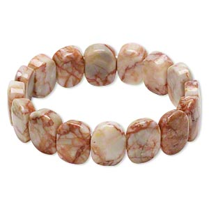 bracelet, stretch, redline marble (coated), 16x12mm-17x13mm double-drilled rounded rectangle, 6-1/2 inches. sold individually.