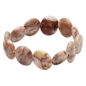 bracelet, stretch, redline marble (natural), 15-16mm puffed flat round, 6 inches. sold individually.