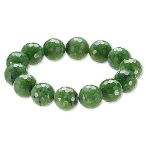 bracelet, stretch, ruby in zoisite (natural), 15-16mm faceted round, 9 inches. sold individually.