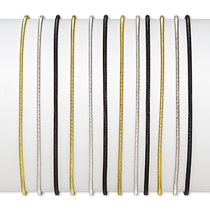 bracelet, stretch, steel / gold- / silver-finished steel, black, 2mm wide, 7-1/2 inches. sold per pkg of 12.