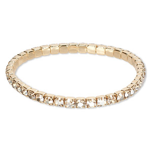 bracelet, stretch, swarovski crystals and gold-plated brass, crystal golden shadow, 4.5mm wide, 6-1/2 inches. sold individually.