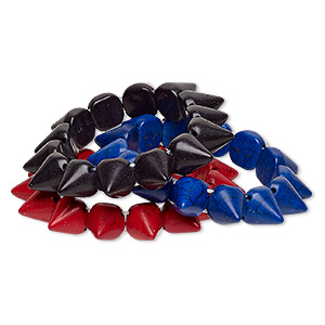 bracelet, stretch, turquoise (imitation), red / blue / black, 14mm spike, 7 inches. sold per pkg of 3.