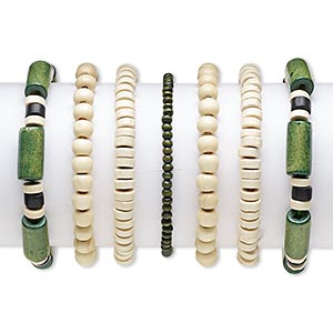 bracelet, stretch, wood (natural) and painted wood, black and green, 4x3mm-20x9mm assorted shape, 6-1/2 inches. sold per pkg of 7.
