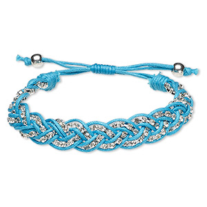 bracelet, waxed cotton cord / glass rhinestone / silver-finished brass, turquoise blue and clear, 13mm wide with cupchain, adjustable from 6-1/2 to 8-1/2 inches with macrame knot closure. sold individually.