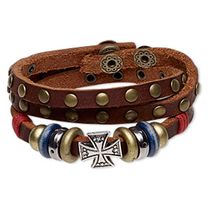 bracelet, wrap, leather / wood (dyed) / waxed cotton cord / antique brass-coated plastic / antique brass-plated brass / steel / pewter (zinc-based alloy), multicolored, 15mm wide with 15mm cross, adjustable at 6 and 6-1/2 inches with snap closure. sold individually.