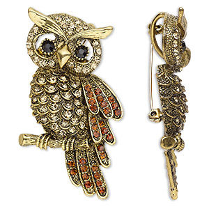 brooch / pendant, glass rhinestone and antique gold-finished pewter (zinc-based alloy), black / brown / champagne, 67x35mm owl with hidden bail. sold individually.