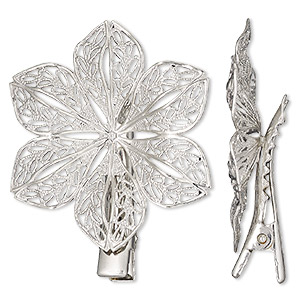 brooch and hair clip, silver-finished brass and steel, 42.5x37.5mm flower. sold individually.