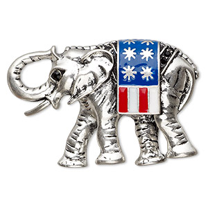 brooch, enamel / czech glass rhinestone / antique silver-plated pewter (zinc-based alloy) , multicolored, 49x33mm elephant with usa flag. sold individually.