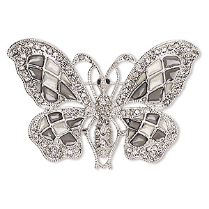 brooch, glass rhinestone / enamel / imitation rhodium-finished pewter (zinc-based alloy), grey and clear, 58x35mm butterfly. sold individually.