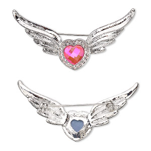 brooch, glass rhinestone / glass / imitation rhodium-plated pewter (zinc-based alloy), pink and clear, 69x29mm heart with wings. sold individually.
