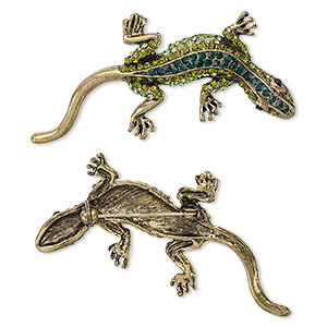 brooch, glass rhinestone and antique brass-plated pewter (zinc-based alloy), multicolored, 65x30mm gecko. sold individually.