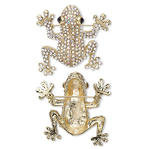 brooch, glass rhinestone and gold-finished pewter (zinc-based alloy), clear ab / clear / black, 45x43mm frog. sold individually.