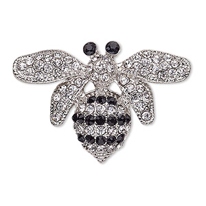 brooch, glass rhinestone and silver-finished pewter (zinc-based alloy), black and clear, 38x26mm bee. sold individually.