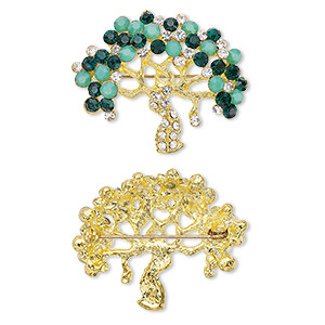 brooch, glass rhinestone with gold-finished brass and pewter (zinc-based alloy), dark green / light green / clear, 40x35mm tree of life. sold individually.