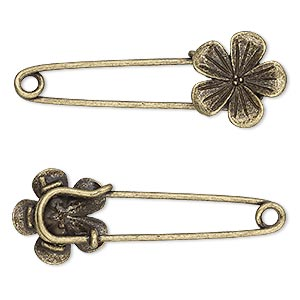 brooch pin, antique brass-plated pewter (zinc-based alloy), 2-1/4 x 3/4 inches with 19x19mm single-sided flower. sold per pkg of 2.