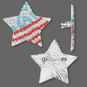 brooch, plastic rhinestone and rhodium-plated metal alloy, red / white  /blue, 37x37mm usa star. sold individually. minimum 3 per order.