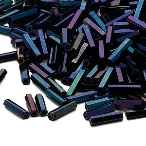 bugle bead, dyna-mites™, glass, opaque iris blue, #3 hex 2-cut. sold per 35-gram pkg.