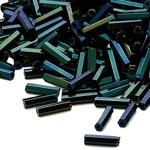 bugle bead, dyna-mites™, glass, opaque iris green, #3 hex 2-cut. sold per 1/2 kilogram pkg.