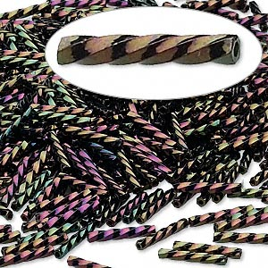 bugle bead, dyna-mites™, glass, opaque iris light purple, 12mm twisted. sold per 1/2 kilogram pkg.