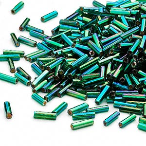 bugle bead, dyna-mites™, glass, silver-lined translucent rainbow emerald green, #3 square hole. sold per 35-gram pkg.