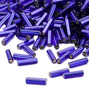 bugle bead, dyna-mites™, glass, silver-lined transparent cobalt blue, #3 square hole. sold per 35-gram pkg.