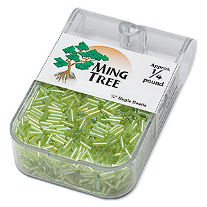 bugle bead, ming tree™, glass, transparent rainbow grass green, 1/4 inch. sold per 1/4 pound pkg.