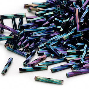 bugle bead, miyuki, glass, opaque gunmetal purple, (tw455), 12x2mm twisted. sold per 250-gram pkg.