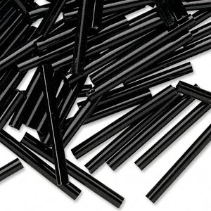 bugle bead, preciosa, czech glass, opaque black, 1 inch. sold per 250-gram pkg.