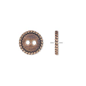 button, antique copper-plated pewter (zinc-based alloy), 12.5mm double-sided flat round with rope edge. sold per pkg of 50.