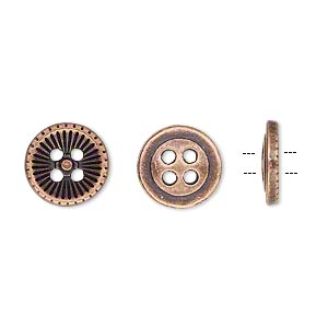 button, antiqued copper-finished pewter (zinc-based alloy), 11.5mm single-sided corrugated round. sold per pkg of 50.
