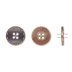 button, antiqued copper-finished pewter (zinc-based alloy), 12mm single-sided flat round with stitched edge. sold per pkg of 50.