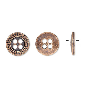 button, antiqued copper-finished pewter (zinc-based alloy), 12mm single-sided flat round with greek key design. sold per pkg of 50.
