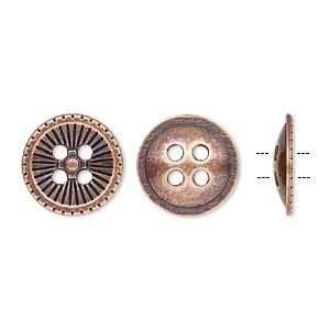 button, antiqued copper-finished pewter (zinc-based alloy), 18mm single-sided corrugated round. sold per pkg of 20.