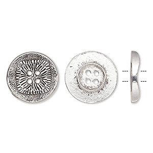 button, antiqued silver-finished pewter (zinc-based alloy), 21mm single-sided wavy flat round with textured square design. sold per pkg of 20.