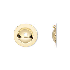 button cover, gold-plated brass, 15mm domed round with 2 loops. sold per pkg of 24.