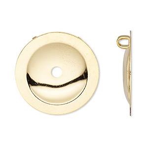 button cover, gold-plated brass, 25mm domed round with 2 loops. sold per pkg of 12.