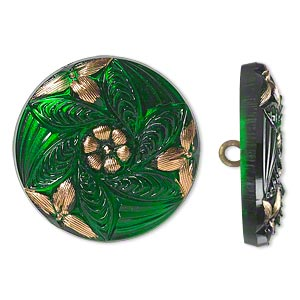button, czech glass and brass, emerald green and gold, 27mm round with flower design. sold individually.