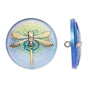 button, czech glass and brass, iridescent sapphire blue and gold, 31mm round with dragonfly design. sold individually.