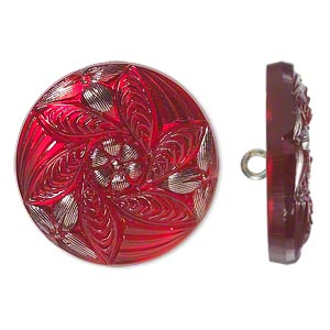 button, czech glass and brass, red and silver, 27mm round with flower design. sold individually.