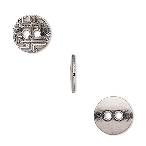 button, gunmetal-finished pewter (zinc-based alloy), 12mm single-sided flat round with geometric design. sold per pkg of 50.
