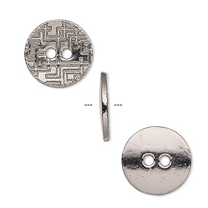 button, gunmetal-plated pewter (zinc-based alloy), 15mm single-sided flat round with geometric design. sold per pkg of 20.