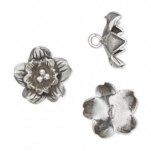 button, hill tribes, antiqued fine silver, 16mm flower. sold individually.