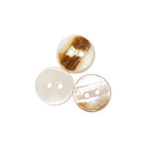 button, mother-of-pearl shell (natural / bleached), white, 11mm round, mohs hardness 3-1/2. sold per pkg of 100.