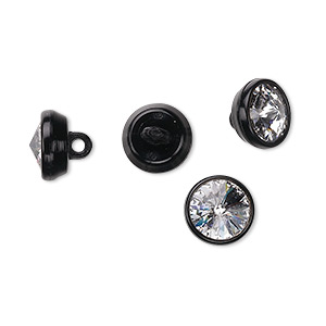 button, swarovski crystals and acrylic, crystal clear and black, 10mm round. sold per pkg of 4.